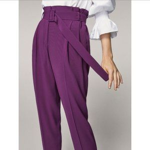 Massimo Dutti Purple Paper Bag Pants NWT